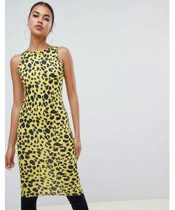 a662bb5d1fe Prettylittlething - Желтое Платье Миди С Леопардовым Принтом