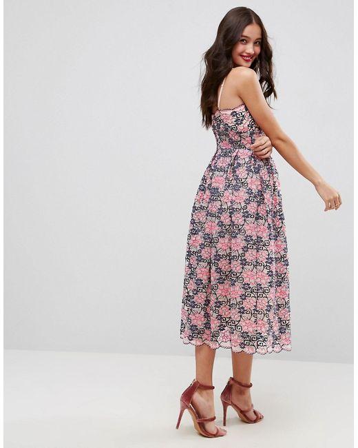 dcbf0ef1821 Женское Многоцветное Кружевное Платье Миди Для Выпускного Asos 6073182