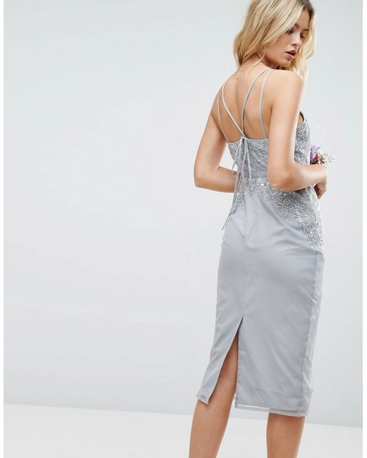 556b13e8d55 ... Декорированное Платье-Футляр Миди С Кружевной Отделкой Wedding Asos  многоцветный ...
